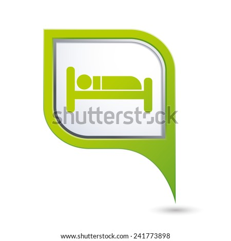 Green map pointer with hotel icon. - stock vector