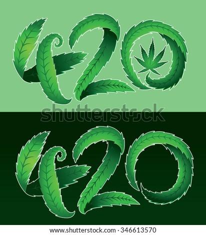 Green marijuana cannabis leaf 420 text vector illustration  - stock vector