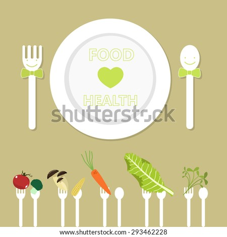 Green market. Healthy food. Organic garden. Vegetarian food. Green vegetable and heart on plate. Vector illustration