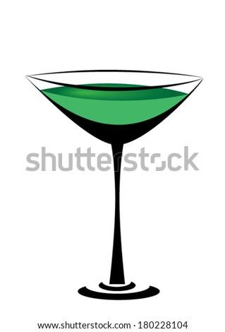 green martini cocktail - stock vector