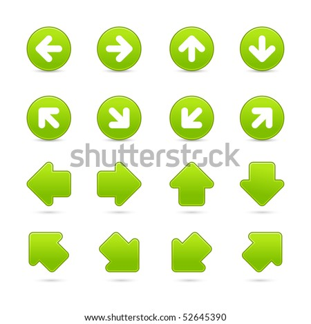 Green matted web button arrow set on white