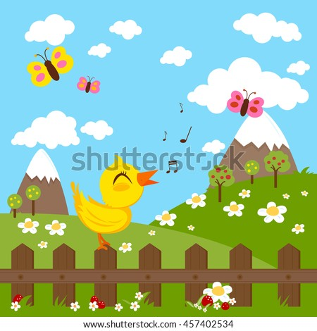 Green meadow landscape with a bird singing on a wooden fence, mountains, flowers and butterflies. Vector illustration