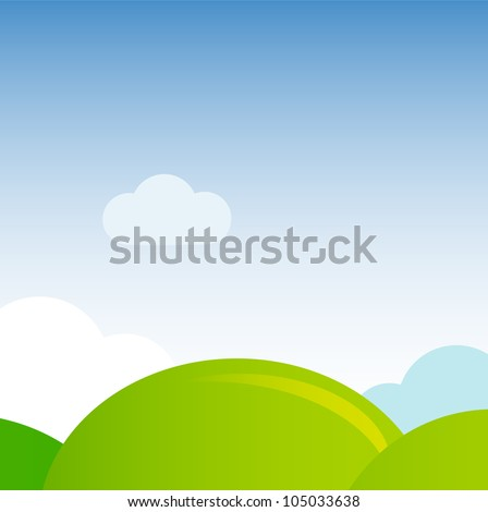 Green meadow nature background - stock vector