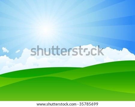 Green meadow, sun and clouds. Vector illustration. - stock vector