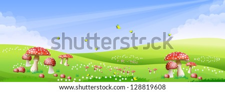 Green meadow with a beautiful mushroom color with a bright sky. - stock vector