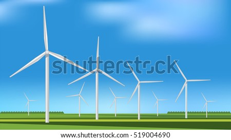 Green meadow with Wind turbines generating electricity, alternative energy, vector image.