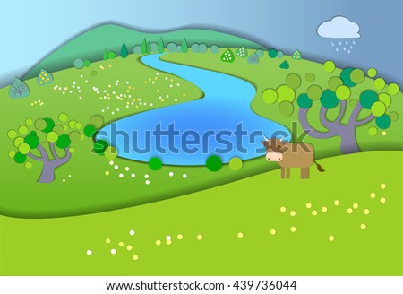 Green meadows,garden,trees,before the rain.Weather changes.Concept showing idyllic lifestyle.Paper cut style.Flat Illustration with smooth shadows.Summer landscape with fields,cow in the pasture