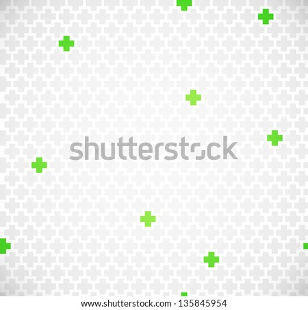 Green medical seamless pattern with crosses - stock vector