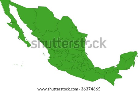 Green Mexico map with state borders - stock vector