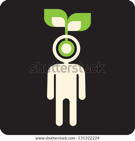 green mind - idea seed sprouting in a brain - stock vector