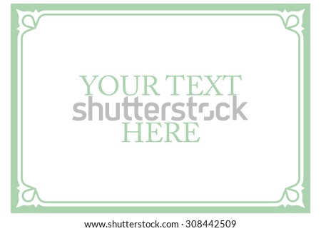 green mint horizontal border frame deco stock vector 308442509 shutterstock. Black Bedroom Furniture Sets. Home Design Ideas