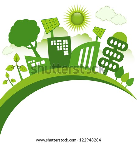 Green modern city living concept. Copy space for your text. - stock vector