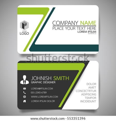 green modern creative business card name stock vector 553351396