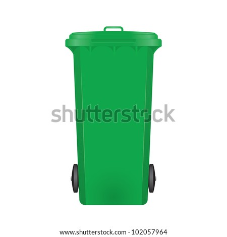 Green modern recycle bin on white background