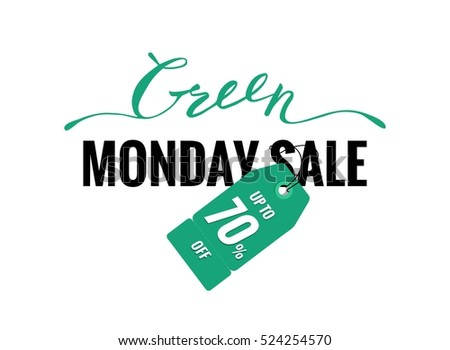 Green monday sale banner with lettering and price tag. Vector illustration