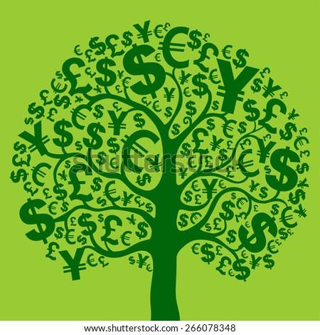 Green money tree. Vector Illustration - stock vector