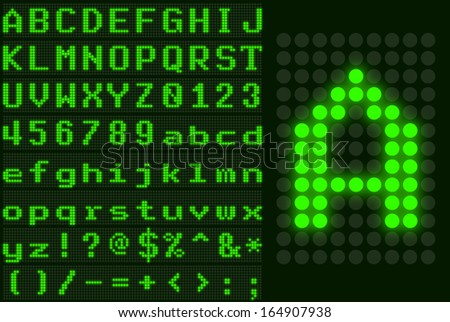 Green monospace dotted LED display letter set - stock vector