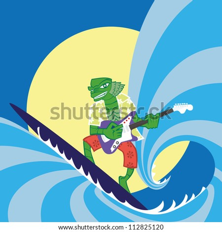 Green monster surfing and playing guitar.