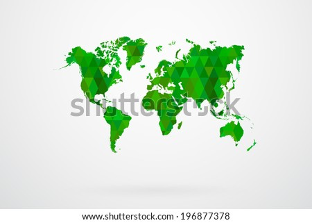 Green Mosaic Tiles World Map Vector Abstract - stock vector