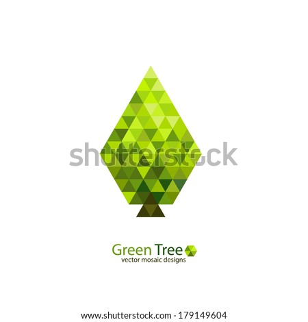 Green mosaic tree ecology design. Modern triangles pattern - stock vector