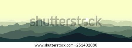 Green mountain landscape in the summer morning. Horizontal vector illustration. - stock vector