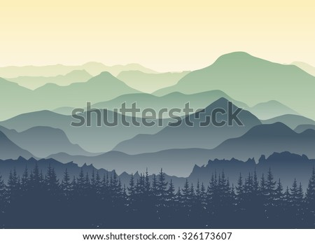 Mountain stock images royalty free images vectors shutterstock green mountains in the fog seamless background sciox Gallery
