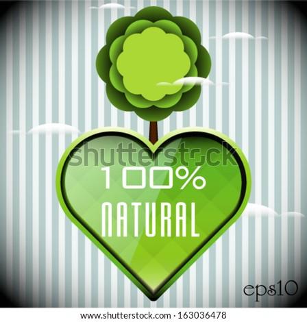 Green 100% Natural Abstract Tree - stock vector