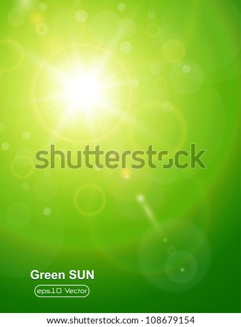Green natural  background with summer sun and lens flare. - stock vector