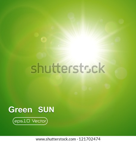 Green natural  background with summer sun, vector. - stock vector