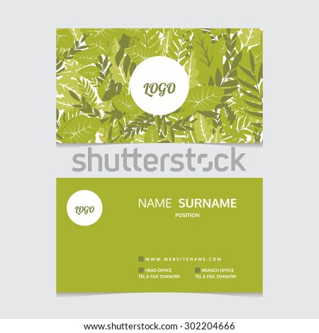 green natural business card vector stock vector royalty free
