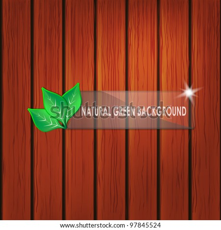 Green natural concept with leaves and wooden planks - stock vector