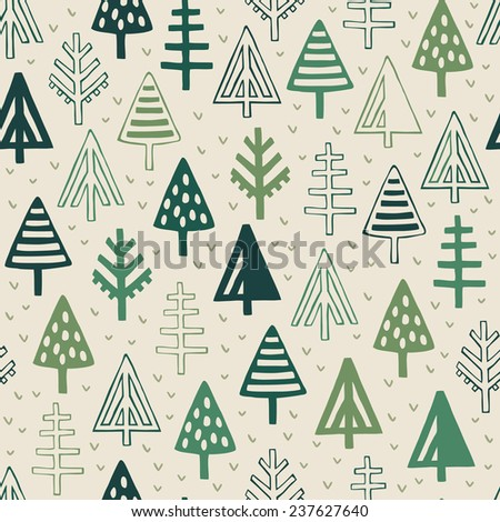 Green natural endless texture. Seamless forest pattern. Template for design textile, wrapping paper, package - stock vector