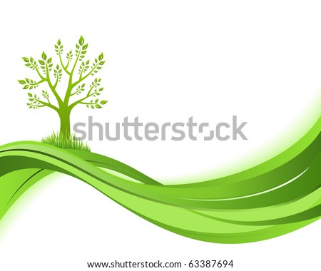 Green nature background. Eco concept illustration. Abstract green vector illustration with copyspace. - stock vector