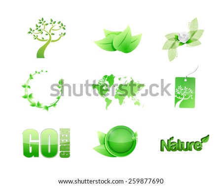 green nature concept icon set illustration design over white - stock vector