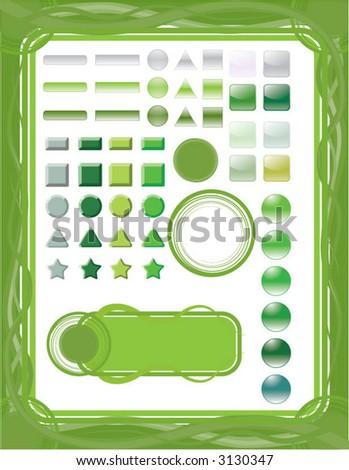 green/nature design element set - stock vector