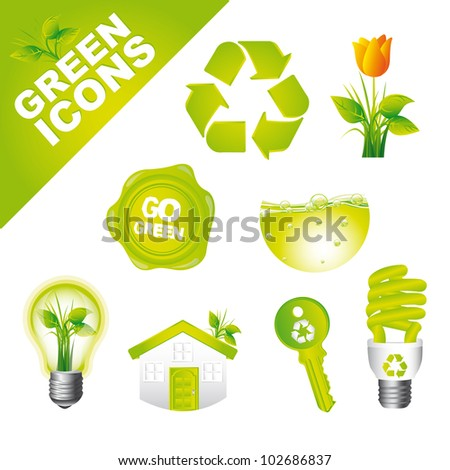 green nature icons isolated over white background. vector illustration