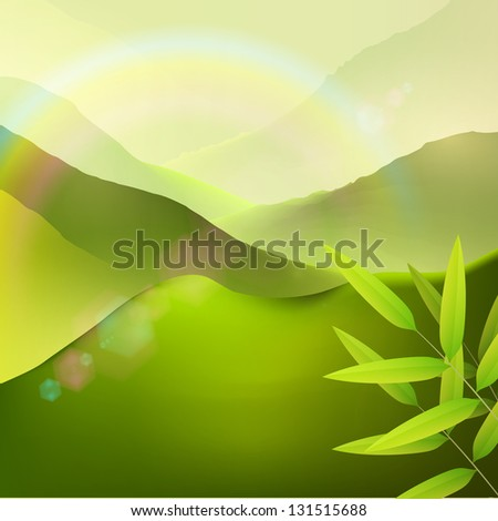 Green nature landscape with mountains, bamboo leaves, lens flares and rainbow. Vector design background - stock vector