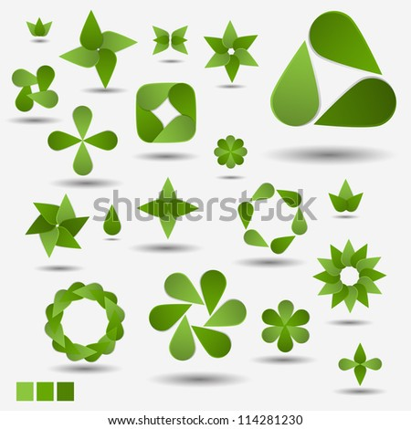 Green nature modern abstract vector symbol set - stock vector