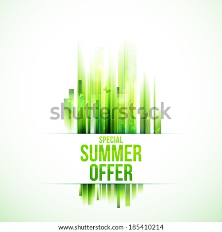 Green nature vector background.  Abstract grass. Horizontal label. Special summer offer.