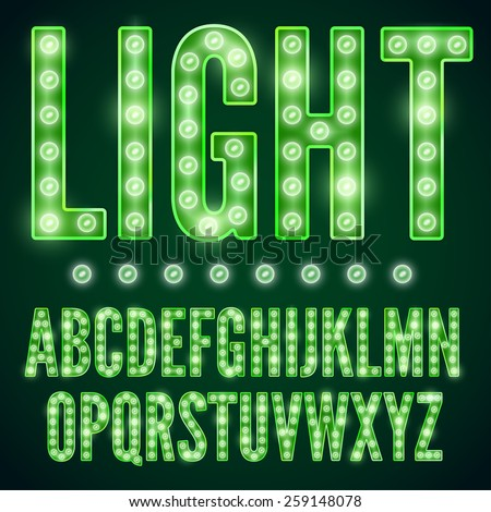 Green neon alphabet font with show lamps, vector illustration - stock vector