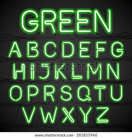 Green neon light alphabet with cable. Vector. - stock vector