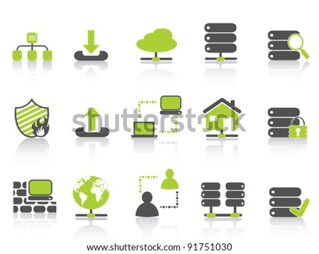 green network server hosting icons - stock vector