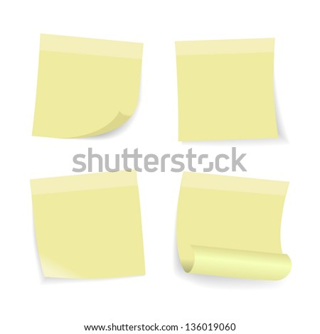 Green note set on white background, vector. - stock vector