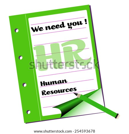 Green notebook with the text we need you, human resources written with black letters - stock vector