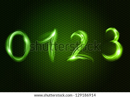 Green number ZERO, ONE, TWO, THREE. - stock vector