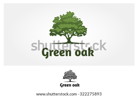 Green Oak Silhouette of a tree, Vector logo design