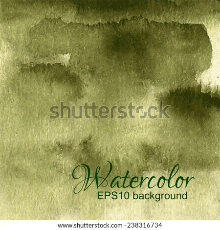 Green, olive dark watercolor gradient abstract vector background. - stock vector