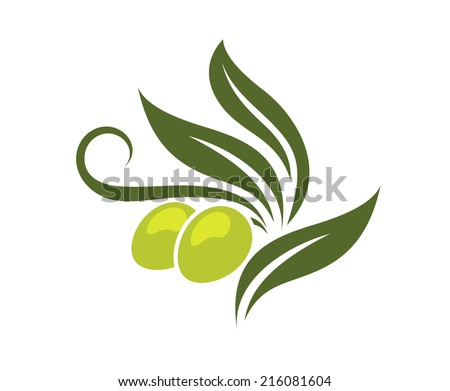 Green olives branch with leaves isolated on white background for healthy vegetarian food, logo design  - stock vector