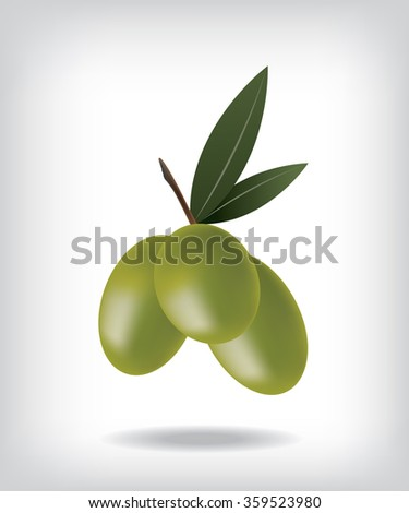 Green olives illustration - stock vector