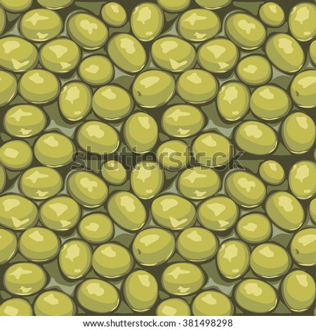 Green olives seamless vector background